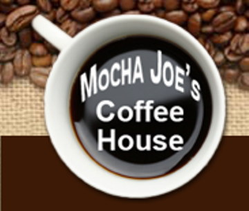 Coffee Cup with Mocha Joe's Coffee House written in the coffee
