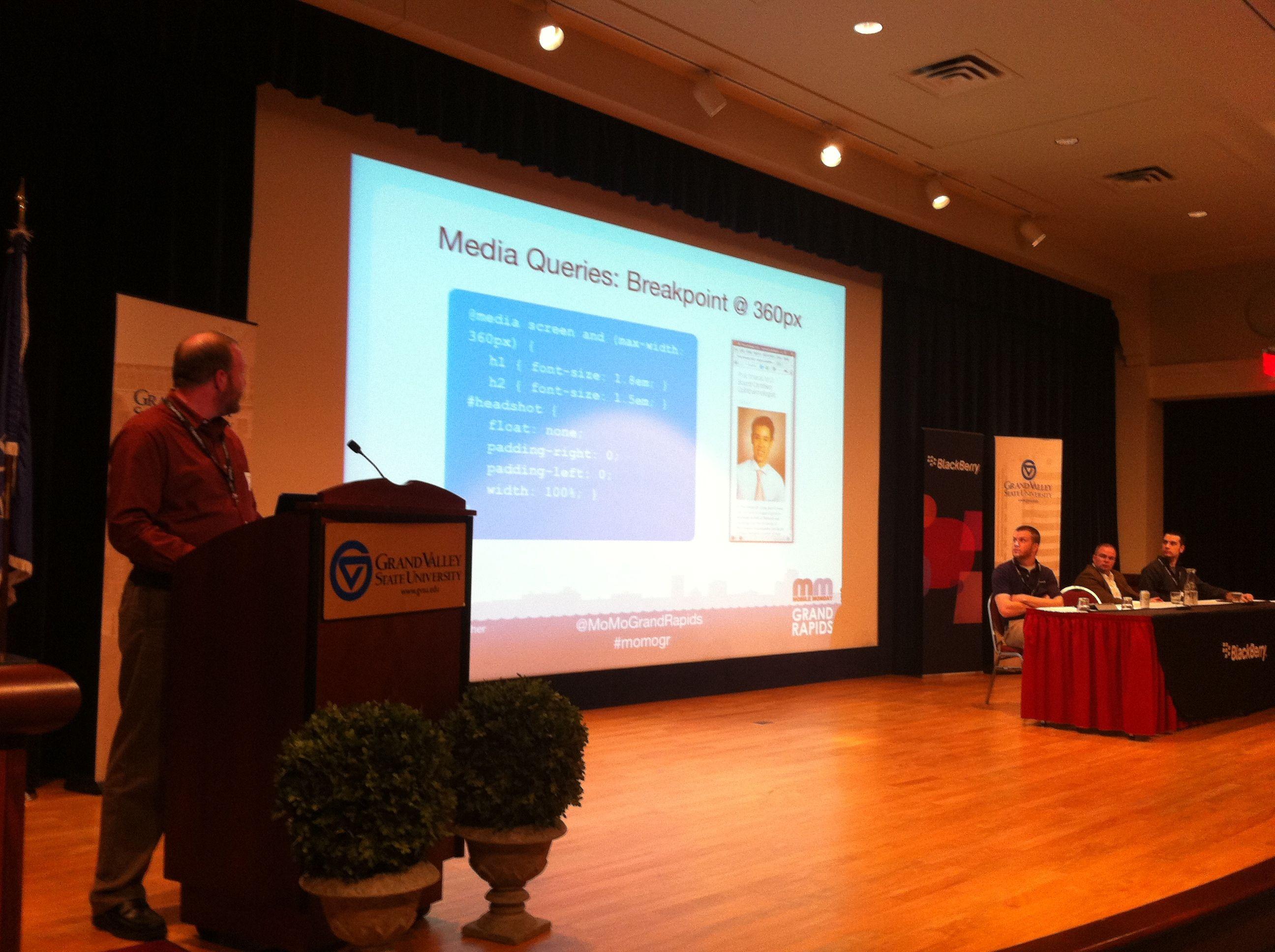 Ben Rousch Presenting at MoMoGR Web Meets Mobile