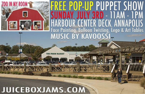 free pop up puppet show with music by kavoossi juice box
