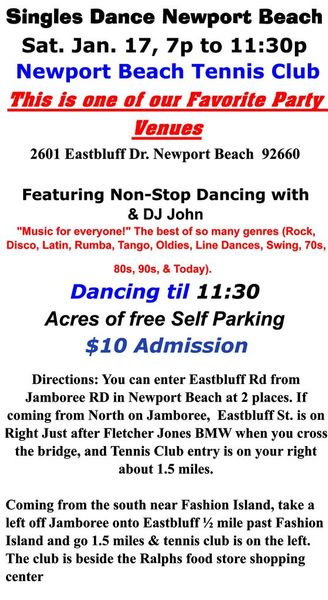 Night Fever Singles Dance, Newport Beach Tennis Club, Sat. Jan. 17 | Singles  Dances & Singles Travel in Newport Beach (Newport Beach, CA) | Meetup