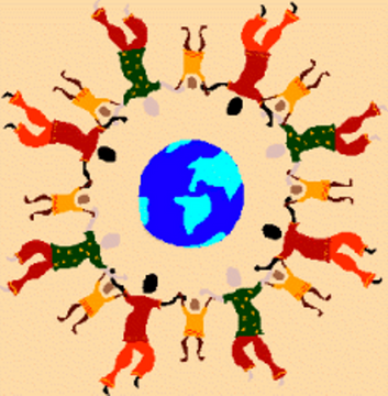 (Globe surrounded by circle of people)