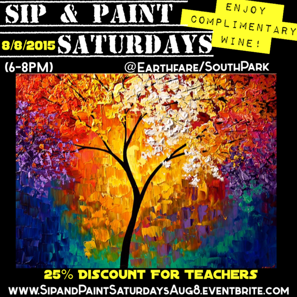 sip paint saturdays lesson colorful abstract tree