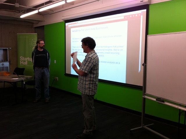 George and Adam presenting about MetaBrite at PuPPy Startup Row Pitch Night